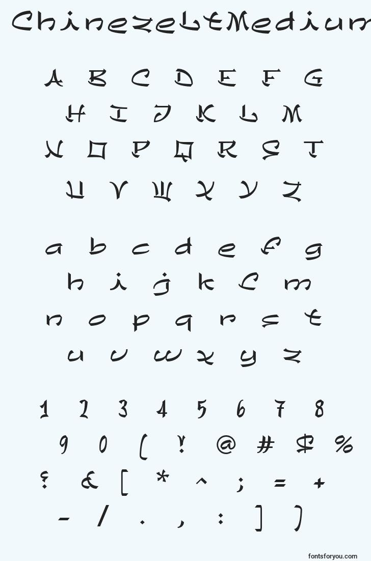 characters of chinezeltmedium font, letter of chinezeltmedium font, alphabet of  chinezeltmedium font