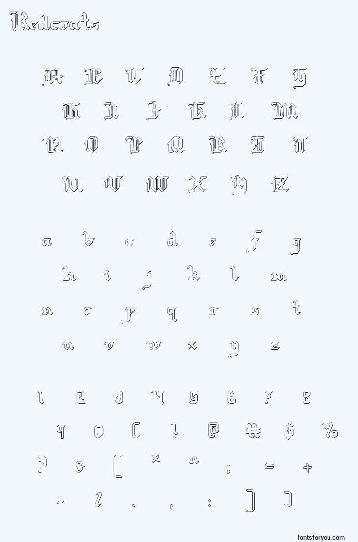 characters of redcoats font, letter of redcoats font, alphabet of  redcoats font