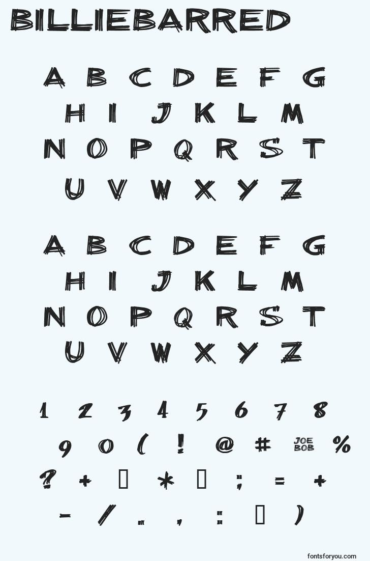 characters of billiebarred font, letter of billiebarred font, alphabet of  billiebarred font