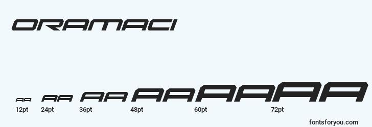 sizes of oramaci font, oramaci sizes