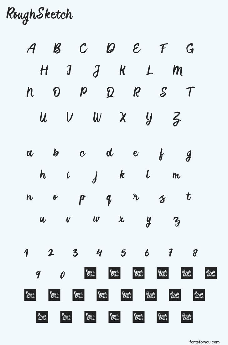 characters of roughsketch font, letter of roughsketch font, alphabet of  roughsketch font