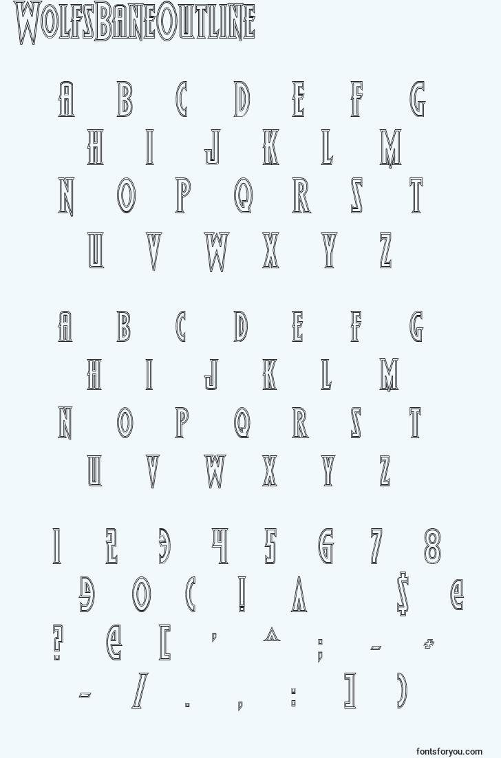 characters of wolfsbaneoutline font, letter of wolfsbaneoutline font, alphabet of  wolfsbaneoutline font