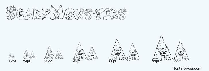tailles de police scarymonsters, scarymonsterstailles