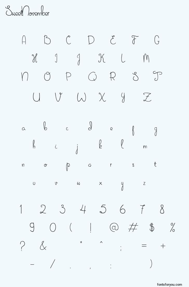 characters of sweetnovember font, letter of sweetnovember font, alphabet of  sweetnovember font