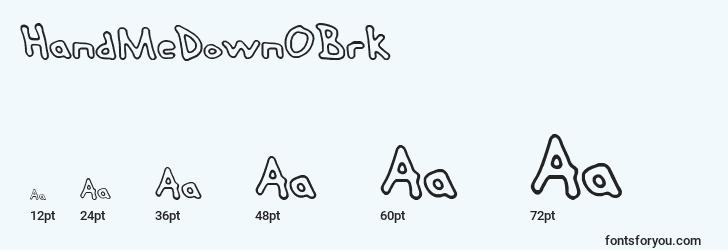 sizes of handmedownobrk font, handmedownobrk sizes