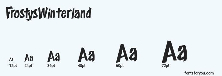 sizes of frostyswinterland font, frostyswinterland sizes