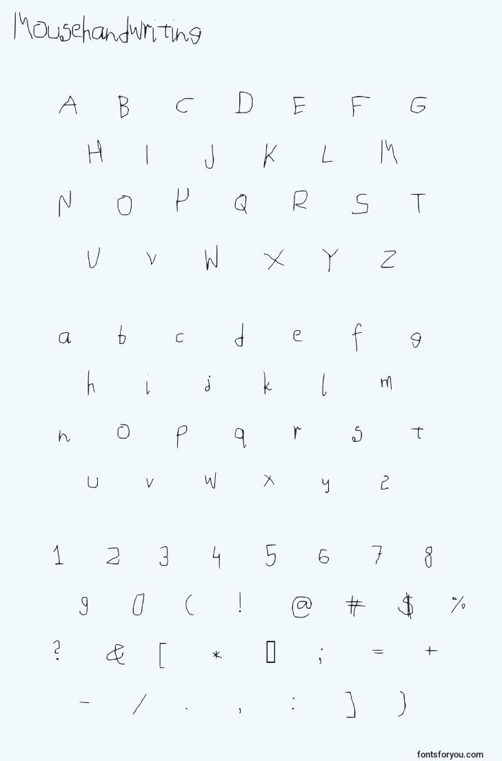 caractères de police mousehandwriting, lettres de police mousehandwriting, alphabet de police mousehandwriting