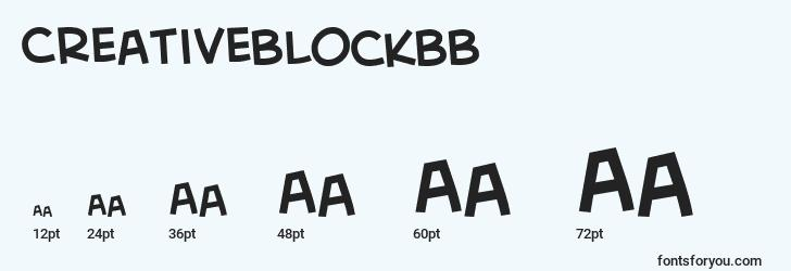 sizes of creativeblockbb font, creativeblockbb sizes