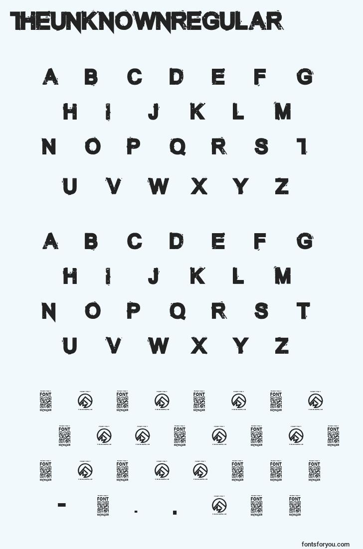 characters of theunknownregular font, letter of theunknownregular font, alphabet of  theunknownregular font