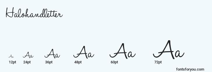 sizes of halohandletter font, halohandletter sizes