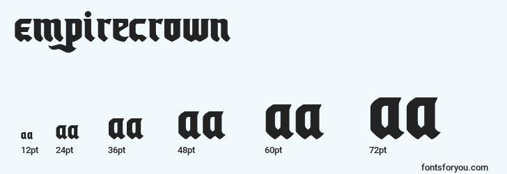 sizes of empirecrown font, empirecrown sizes