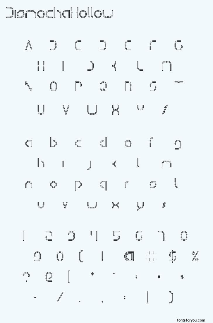 characters of dismechahollow font, letter of dismechahollow font, alphabet of  dismechahollow font