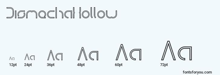 sizes of dismechahollow font, dismechahollow sizes