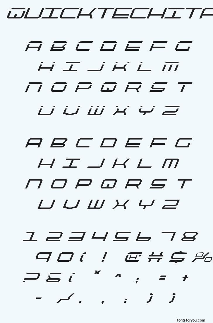 characters of quicktechitalic font, letter of quicktechitalic font, alphabet of  quicktechitalic font