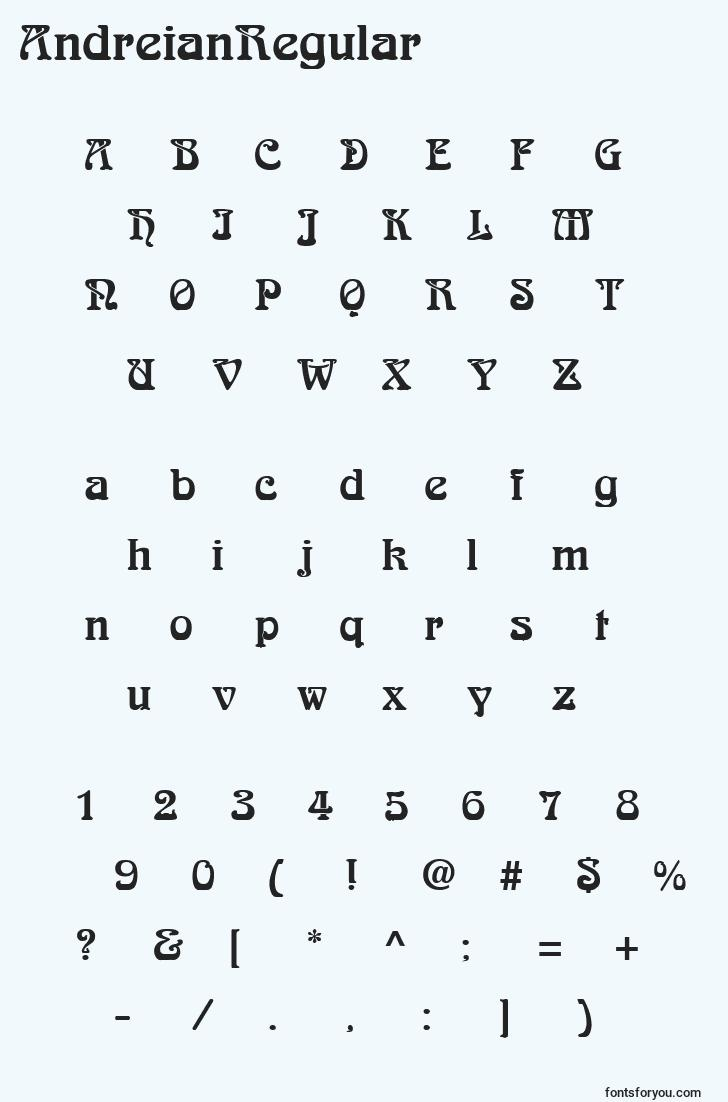 characters of andreianregular font, letter of andreianregular font, alphabet of  andreianregular font