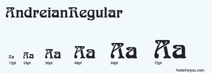 sizes of andreianregular font, andreianregular sizes