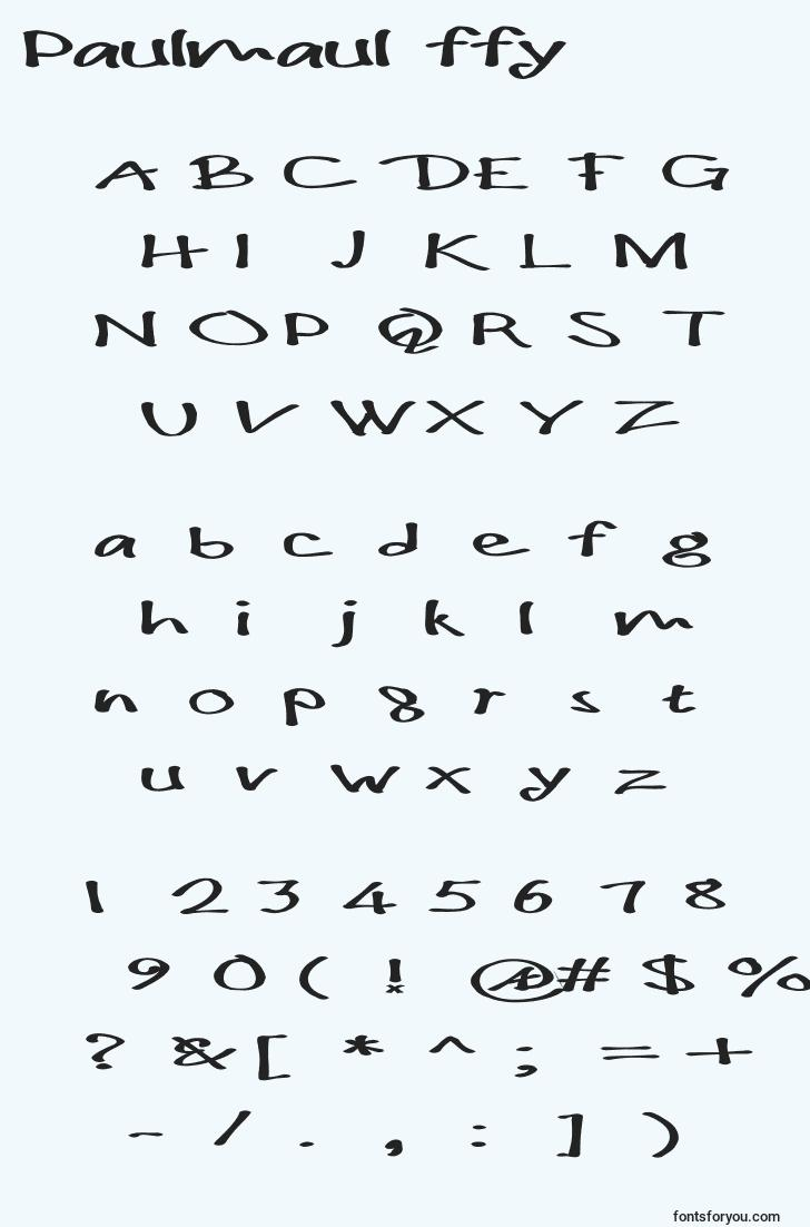 characters of paulmaul ffy font, letter of paulmaul ffy font, alphabet of  paulmaul ffy font