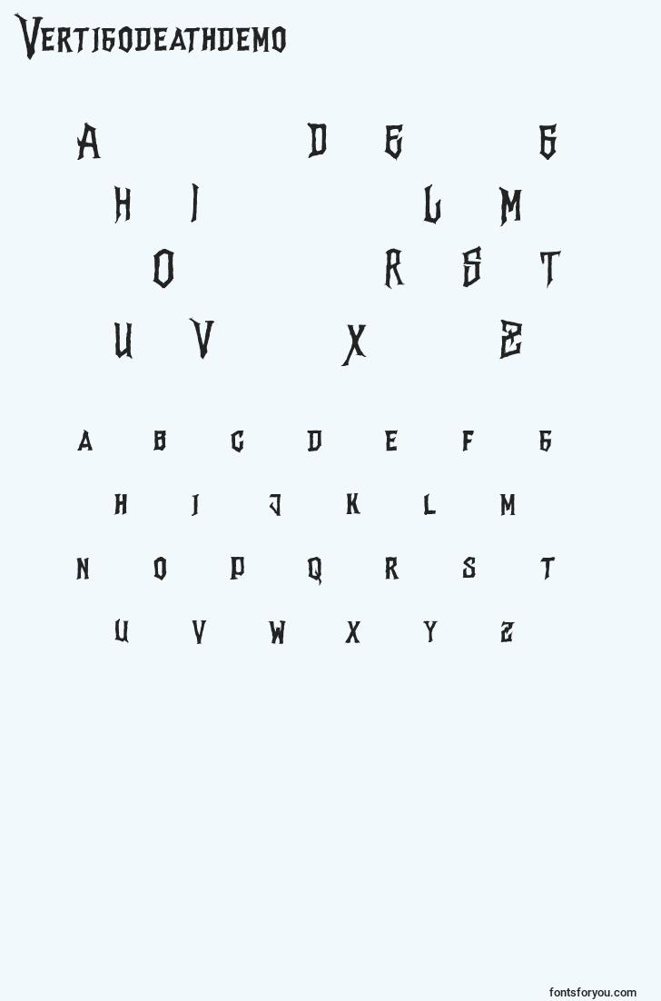 characters of vertigodeathdemo font, letter of vertigodeathdemo font, alphabet of  vertigodeathdemo font