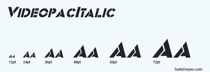 sizes of videopacitalic font, videopacitalic sizes