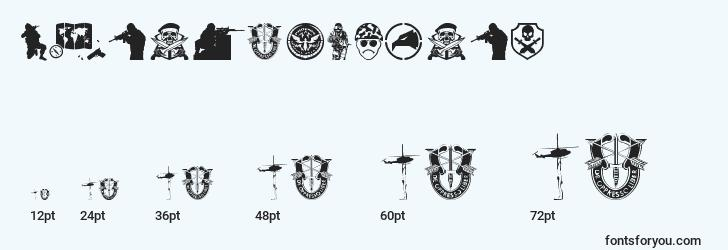 sizes of specialforces font, specialforces sizes